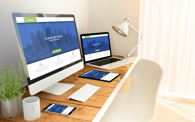 Conceito responsivo fresco e moderno em dispositivos