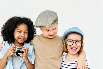 Conceito retro da unidade da felicidade brincalhão das crianças do divertimento das crianças
