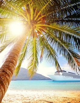 Conceito tropical do navio de cruzeiros da praia da ilha do verão