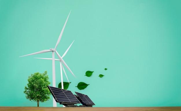 Conceitos ambientais energia limpa, turbinas eólicas, células solares e árvores