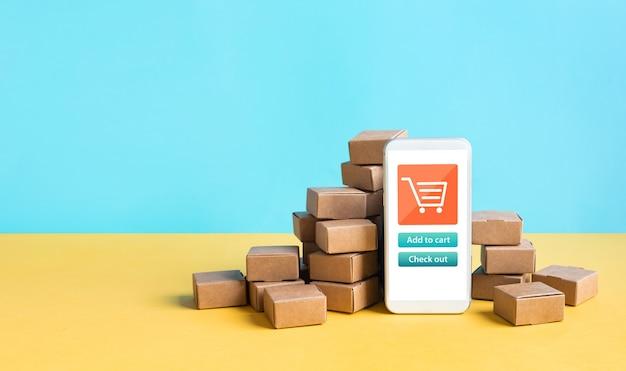 Conceitos de comércio eletrônico ou compras on-line com smartphone
