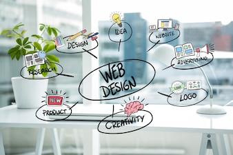 Conceitos de design Web com fundo borrado