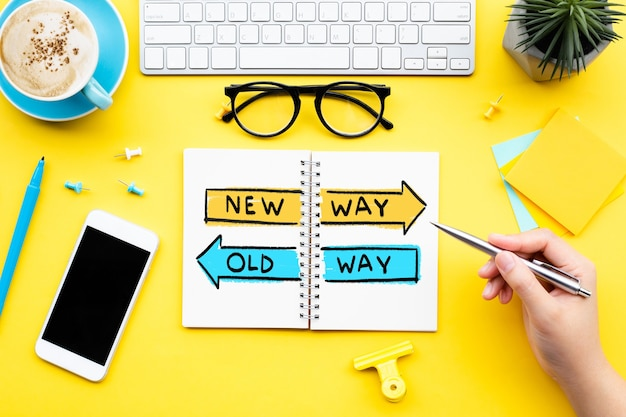 Conceitos de direção do novo jeito e do jeito antigo. planejamento e análise do trabalho