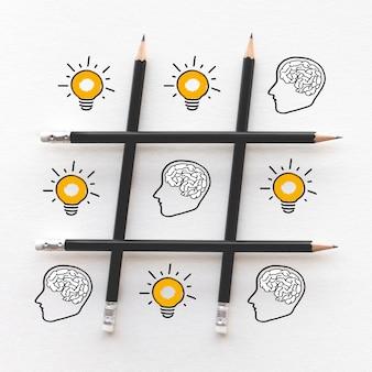 Conceitos de inspiração de ideias com cérebro na cabeça e lâmpada