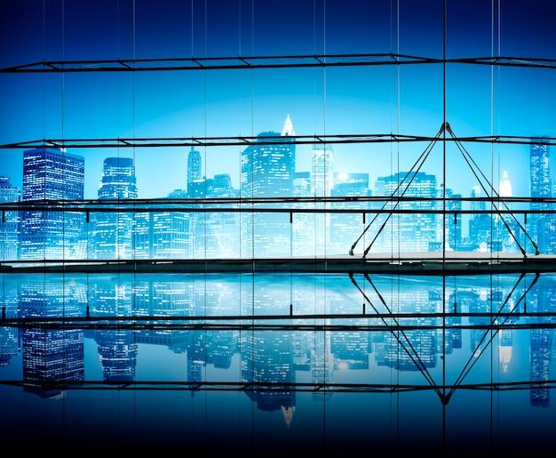 Conceitos do céu claro da arquitectura da cidade da noite