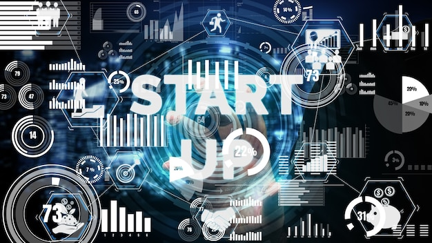 Conceitual start up business of creative people