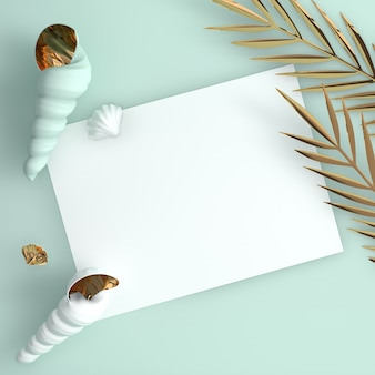 Concha do mar e folhas de palmeira tropical dourada