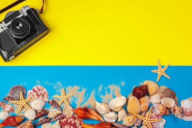 Concha do mar, estrela do mar e câmera