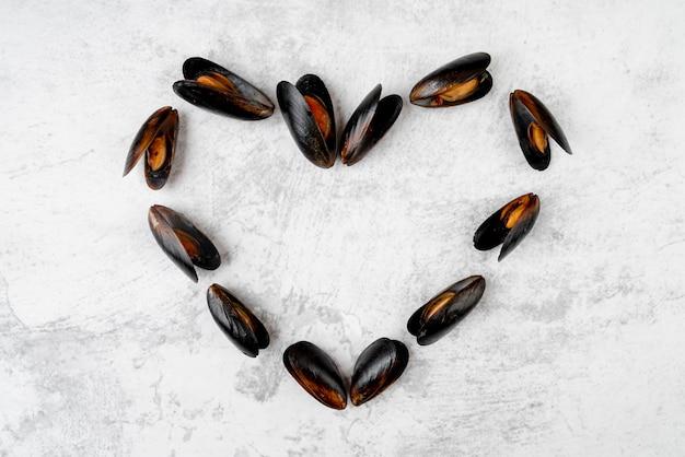Conchas de mexilhão em forma de coração