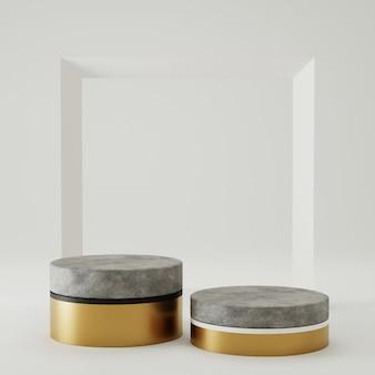 Concreto e ouro do pódio da rendição 3d para a exposição do produto com fundo do quadro. conceito de estilo minimalista