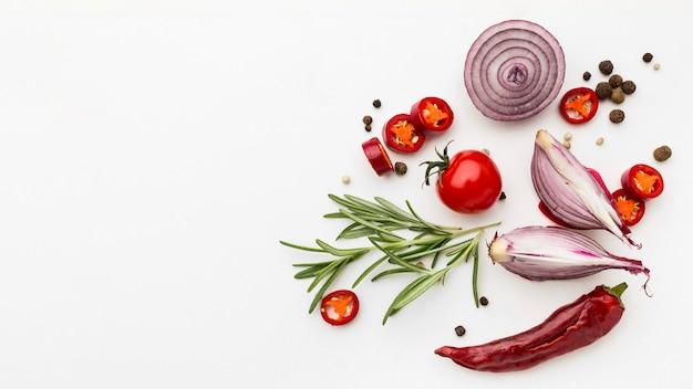 Condimentos de cópia-espaço para cozinhar