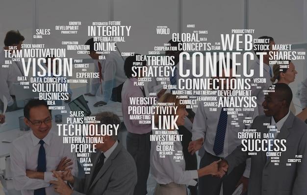 Conecte o conceito da equipe da estratégia do crescimento do desenvolvimento dos dados