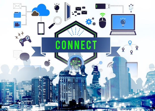 Conecte o conceito de mídia de rede de comunicação de conexão