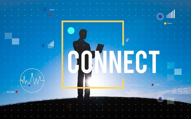 Conecte o conceito do estilo de vida do internet da tecnologia de comunicação