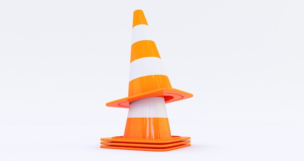 Cones de construção de tráfego rodoviário laranja isolados no fundo branco renderização 3d