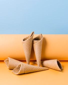 Cones de sorvete de alto ângulo