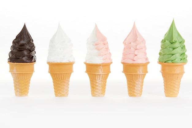 Cones de sorvete multi sabor