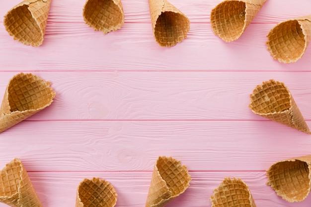 Cones de sorvete vazio