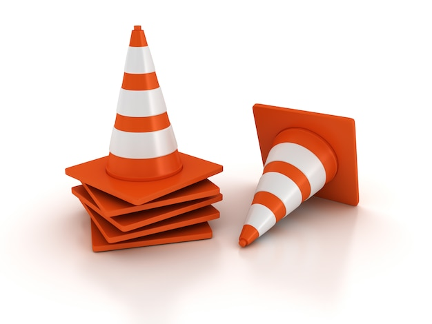 Cones de trânsito 3d
