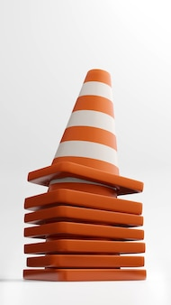 Cones de trânsito, cones de trânsito, renderização em 3d