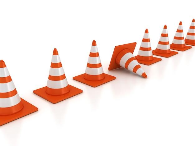 Cones de trânsito em uma linha em branco