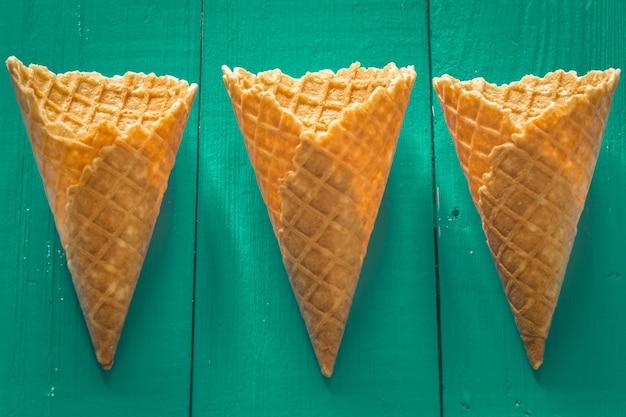 Cones de waffle de sorvete