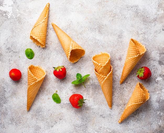 Cones de waffle para sorvete