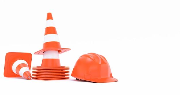 Cones laranja de construção de tráfego rodoviário e um capacete isolado no fundo branco 3d render
