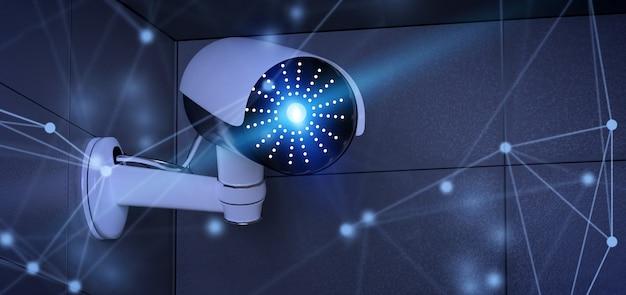 Conexão através de um sistema de câmera de segurança cctv - renderização em 3d