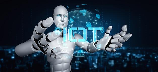 Conexão com a internet controlada pelo robô ai e processo de aprendizado de máquina para analisar a conectividade de dados e segurança cibernética