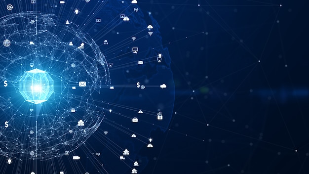 Conexão de dados da rede da tecnologia, rede de digitas e conceito do fundo da segurança do cyber. elemento terra fornecido pela nasa.