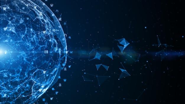 Conexão de dados de rede de tecnologia, rede de dados digitais e segurança cibernética, conceito de fundo de rede global de negócios futuristas