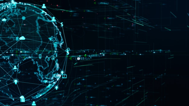 Conexão de dados de rede de tecnologia