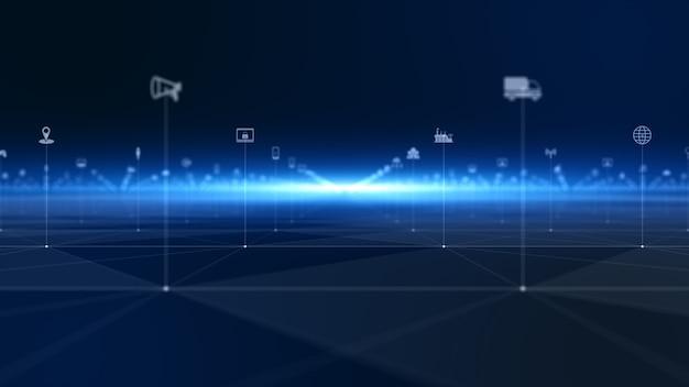 Conexão de dados digitais em rede de tecnologia e proteção de rede de dados digitais. conceito de rede de tecnologia do futuro.