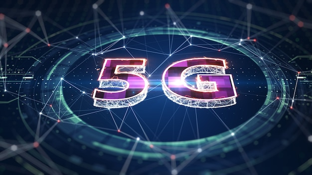 Conexão de internet sem fio de rede 5g wi-fi. conectividade 5g de dados digitais e informações futurísticas. internet de alta velocidade abstrata de coisas iot big data cloud computing. renderização 3d