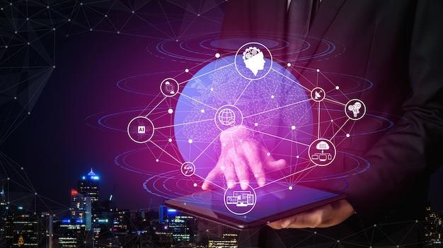 Conexão de rede e conceito de comunicação com a internet