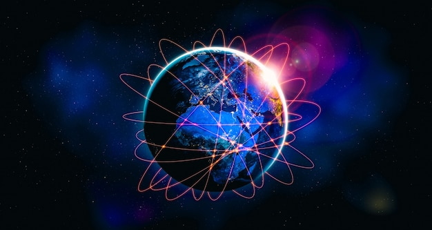 Conexão de rede global cobrindo a terra com linhas de percepção inovadora