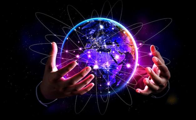 Conexão de rede global cobrindo a terra com link de percepção inovadora