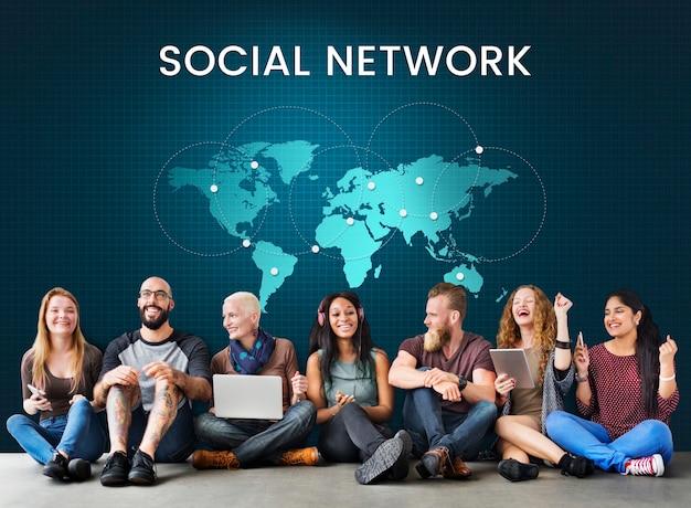 Conexão de rede global com a internet em todo o mundo