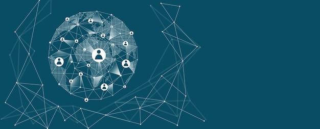 Conexão de rede global. conceito de rede de negócios gobal.