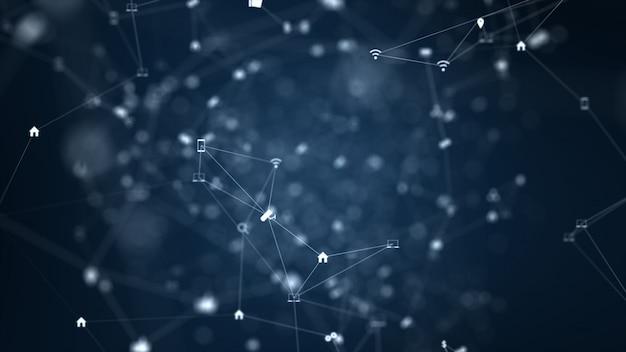 Conexão de rede global e conceito de conexões de dados.