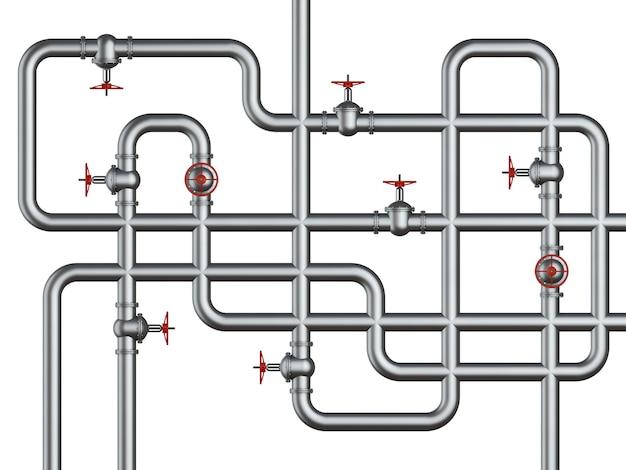 Conexão de tubos e válvulas brilhantes.