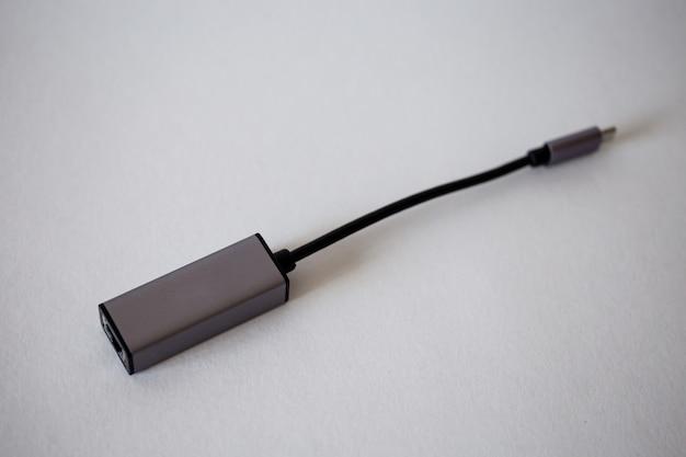 Conexão ethernet para um close-up da conexão com a internet.