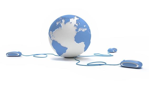 Conexão mundial em azul