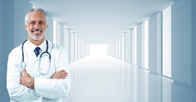 Conexão salão de metal médico brilhante