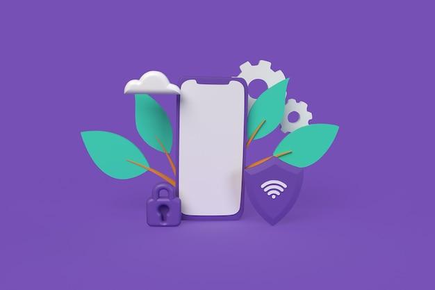 Conexão segura por ilustração de renderização 3d de estilo de argila de conceito de telefone