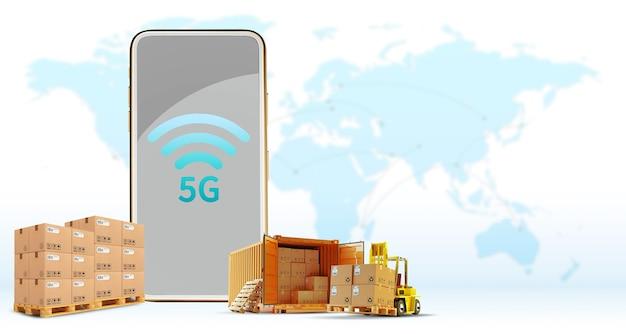 Conexão sem fio on-line do telefone 5g, entrega, transporte, logística caminhão de carga o conceito de comunicação de alta velocidade para empresas com fundo de mapa mundial