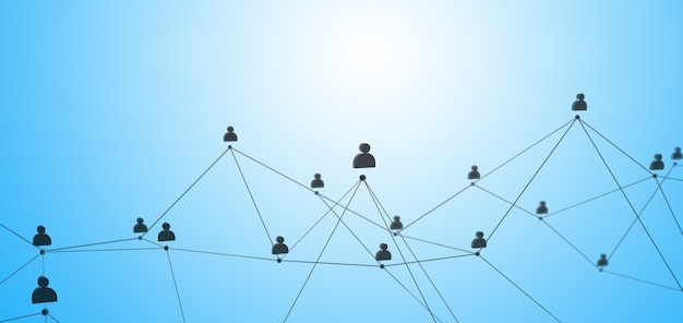 Conexão social ou comunicação empresarial. rede de contatos em um fundo azul. 3d render