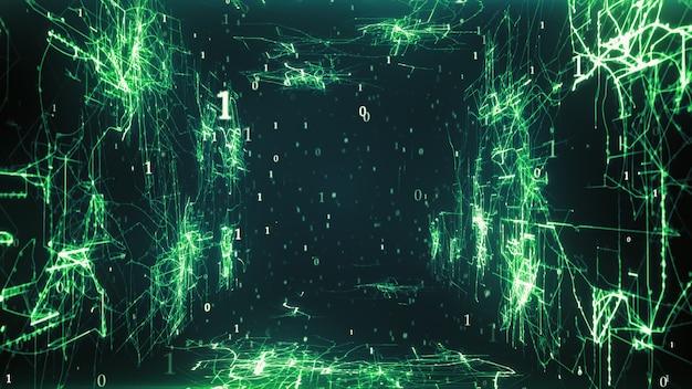 Conexões de circuito brilhantes em paredes digitais