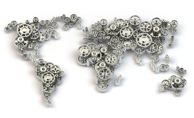 Conexões de economia global e conceito de negócio internacional. mapa do mundo de engrenagens. 3d